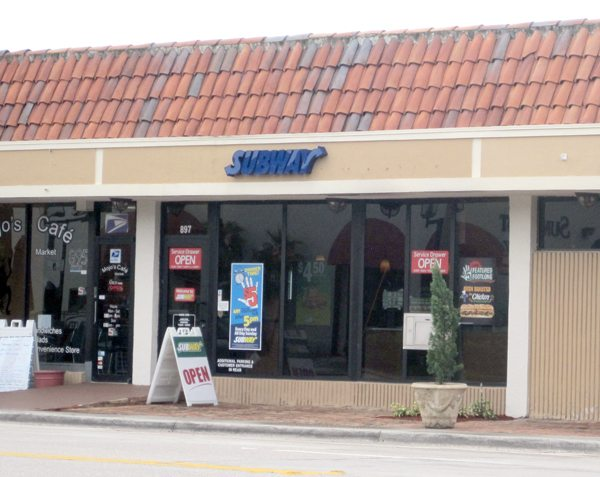 Exterior photo of our building located at 897 E Palmetto Park Rd, where Subway had just opened for business