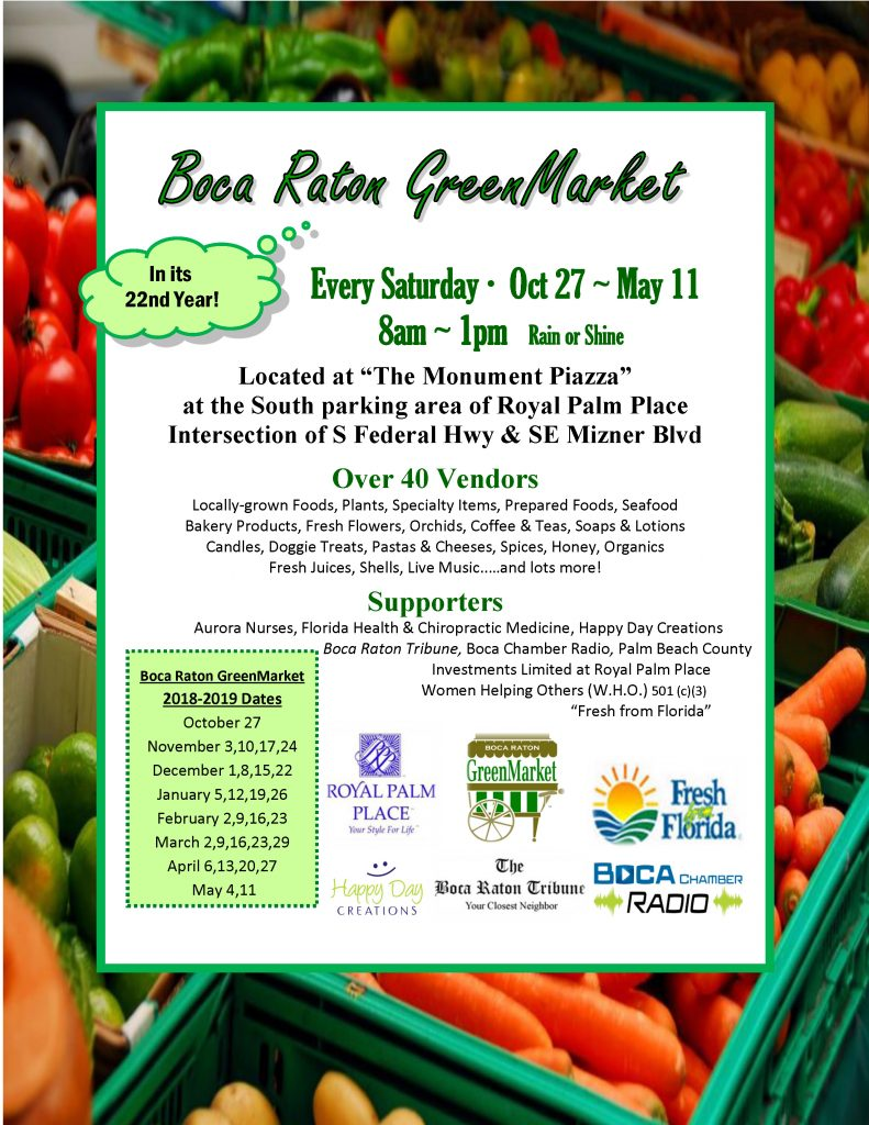 Flyer for the Boca Raton GreenMarket, held at Royal Palm Place in Downtown Boca Raton